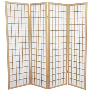 Natural Five Ft. Tall Window Pane Shoji Screen, Width - 68 Inches