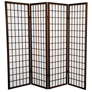 Walnut Five Ft. Tall Window Pane Shoji Screen, Width - 68 Inches
