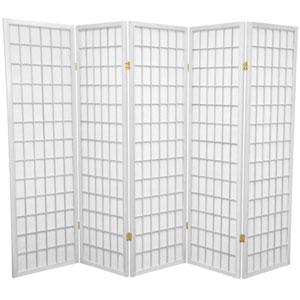 White Five Ft. Tall Window Pane Shoji Screen, Width - 85 Inches