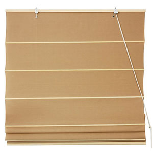 Cotton Roman Shades - Light Brown 60 Inch, Width - 60 Inches