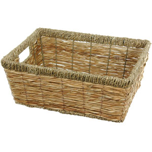 Hand Woven Open Tote Tray Set, Width - 14 Inches