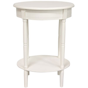 26 Inch Classic Oval Lamp Table White, Width - 19 Inches