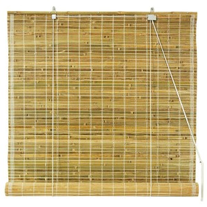 Beige and Tan 48-Inch Wide Natural Burnt Bamboo Roll Up Blind