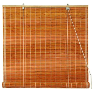 Honey 36-Inch Wide Burnt Bamboo Roll Up Blind