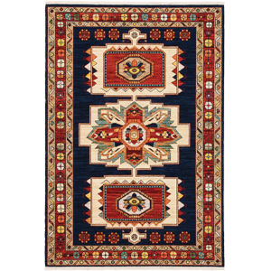 Lilihan Blue Red Rectangular: 6 Ft. 7 In. x 9 Ft. 6 In. Rug
