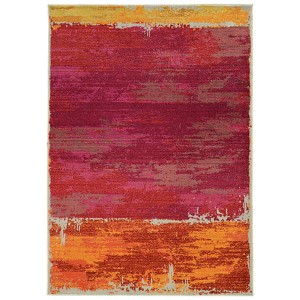 Expressions Orange and Pink Rectangular: 5 Ft. 3 In. x 7 Ft. 6 In. Rug
