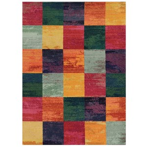 Expressions Blue and Pink Rectangular: 5 Ft. 3 In. x 7 Ft. 6 In. Rug