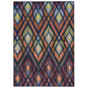 Prismatic Orange and Blue Rectangular: 3 Ft. 5 In. x 5 Ft. 5 In. Rug