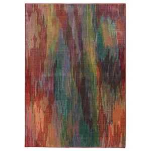 Prismatic Red and Orange Rectangular: 5 Ft. 3 In. x 7 Ft. 6 In. Rug