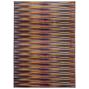 Prismatic Lavender and Red Rectangular: 3 Ft. 5 In. x 5 Ft. 5 In. Rug