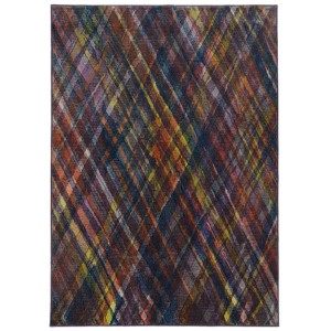 Prismatic Purple and Green Rectangular: 3 Ft. 5 In. x 5 Ft. 5 In. Rug