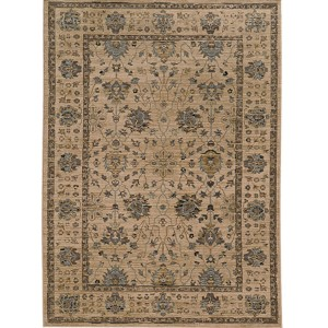 Vintage 534W2 Beige and Blue Rectangular: 5 Ft. 3 In. x 7 Ft. 6 In. Rug