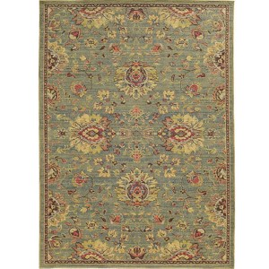 Cabana 002L2 Blue and Beige Rectangular: 7 Ft. 10 In. x 10 Ft. 10 In. Rug