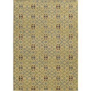 Cabana 5501G Blue and Beige Rectangular: 5 Ft. 3 In. x 7 Ft. 6 In. Rug