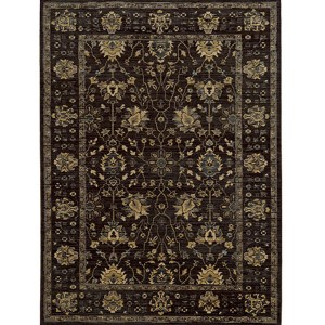 Vintage 534N5 Charcoal and Blue Rectangular: 5 Ft. 3 In. x 7 Ft. 6 In. Rug