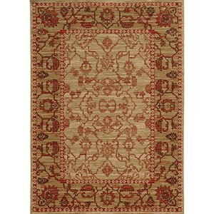 Vintage 4928J Beige and Red Rectangular: 5 Ft. 3 In. x 7 Ft. 6 In. Rug