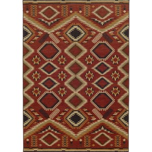 Voyage 5505C Red and Beige Rectangular: 5 Ft. 3 In. x 7 Ft. 6 In. Rug