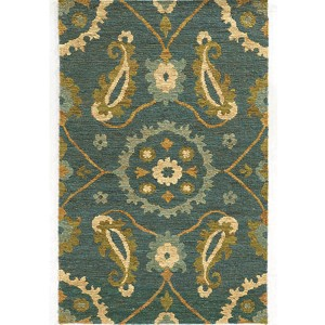 Valencia 57702 Blue and Green Rectangular: 5 Ft. x 8 Ft. Rug