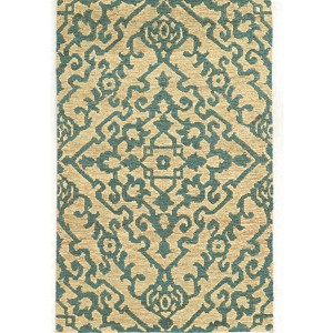 Valencia 57703 Beige and Blue Rectangular: 5 Ft. x 8 Ft. Rug