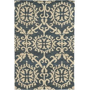 Valencia 57704 Navy and Beige Rectangular: 5 Ft. x 8 Ft. Rug