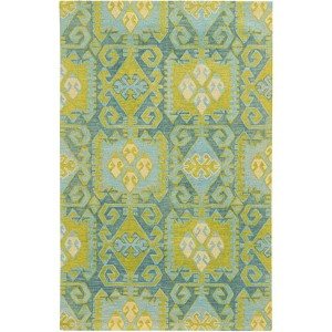 Jamison 53304 Blue and Green Rectangular: 5 Ft. x 8 Ft. Rug