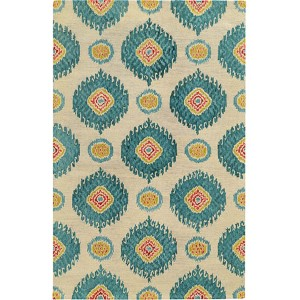 Jamison 53306 Beige and Blue Rectangular: 5 Ft. x 8 Ft. Rug