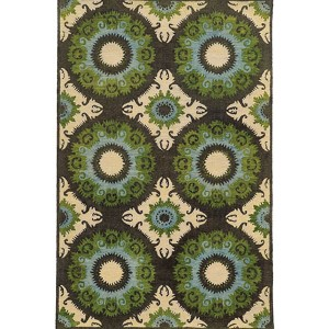 Jamison 53307 Black and Green Rectangular: 5 Ft. x 8 Ft. Rug