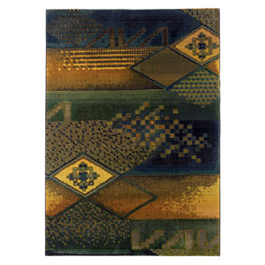 Kharma II Blue Rectangle: 5 ft. 3 in. x 7 ft. 6 in. Rug