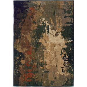 Kasbah Green and Tan Rectangular: 7 Ft. 8 In. x 10 Ft. 10 In. Rug