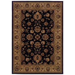 Cambridge Black and Brown Rectangular: 5 Ft. 3 In. x 7 Ft. 6 In. Rug