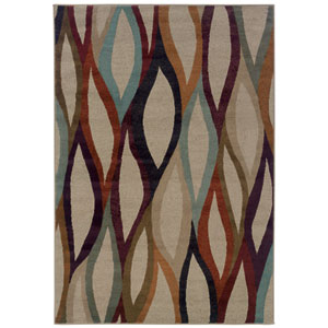 Adrienne Multi-Colored Leaves Rectangular: 5 Ft. 3 In. x 7 Ft. 6 In. Rug