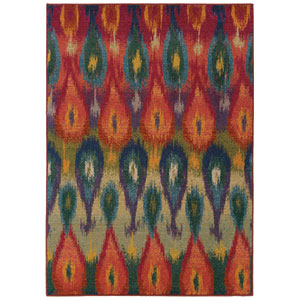 Kaleidoscope Red Rectangular: 5 Ft. 3 In. x 7 Ft. 6 In. Rug