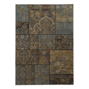 Heritage Charcoal and Blue Rectangular: 2 Ft. x 3 Ft. Rug