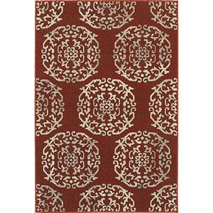 Highlands Red and Beige Rectangular: 6 Ft. x 9 Ft. Rug