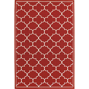 Meridian Red and Ivory Round: 8 Ft. Rug