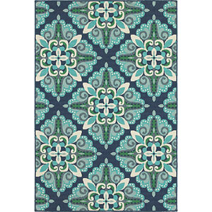Meridian Blue and Green Round: 8 Ft. Rug