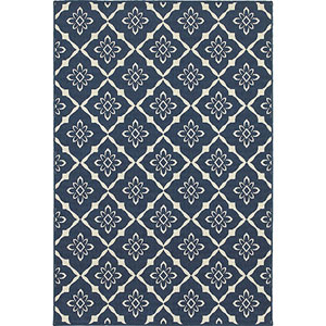 Meridian Navy and Ivory Round: 8 Ft. Rug