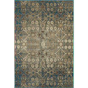 Pasha Beige and Blue Runner: 2 Ft. x 8 Ft.