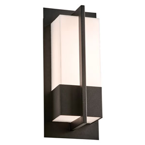 Brecon Black 13-Inch LED Outdoor Wall Mount with Opal Acrylic Lens