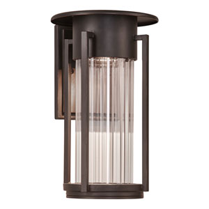 Stilt Oil Rubbed Bronze 12-Inch LED Outdoor Wall Mount with Clear Ribbed Glass