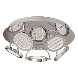 Ariella Polished Chrome Five-Light LED Semi Flush Mount with Crystal Infused Glass
