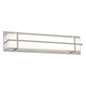 Brookland Polished Chrome 26-Inch LED ADA Bath Vanity with Mitered White Glass