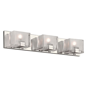 Filigre Polished Chrome Three-Light LED ADA Bath Vanity with Frost with Clear Edge