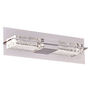 Armano Polished Chrome Two-Light LED ADA Bath Vanity with Clear K9 Crystal Glass with Bubbles