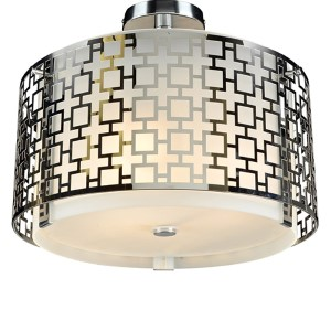 Ethen Polished Chrome Three-Light Semi Flush Mount