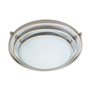 Cascade One-Light Satin Nickel Close to Ceiling Light Fixture with Acid Frost Glass- Halogen