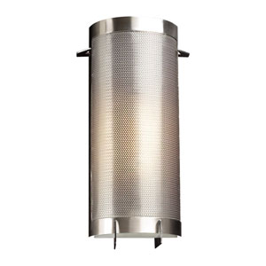 Girasole One-Light Satin Nickel Sconce with Acid Frost Glass- Halogen
