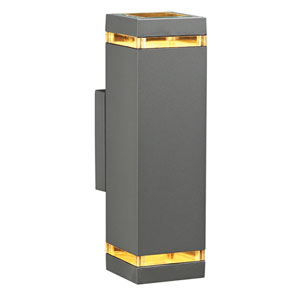 Porto-II Two-Light Silver Outdoor Wall Light