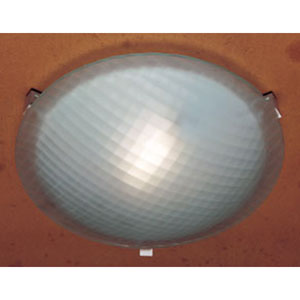 Contempo One-Light White Close to Ceiling Light Fixture with Chequered Glass -Halogen