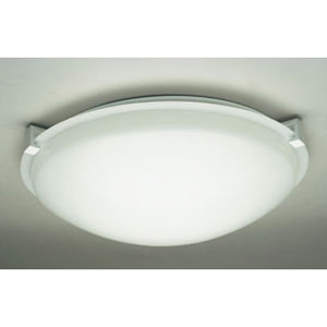 Nuova One-Light White Close to Ceiling Light Fixture with Frost Glass